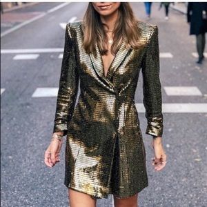 NWT BLOGGER FAV Zara Gold Sequin Blazer Dress